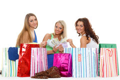 Young women with shopping bags. Royalty Free Stock Photos