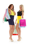 Young women with shopping bags. Happy young women with shopping bags on a white background Stock Photography