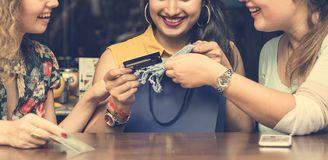 Young Women Shopping Credit Card Concept Stock Photo