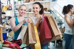Young women shopping shoes Stock Photo