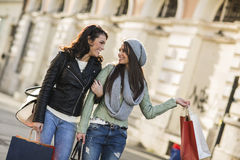 Young women in shopping Royalty Free Stock Photos