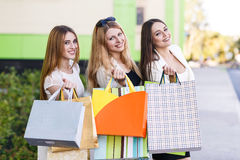 Young women after shopping Royalty Free Stock Images