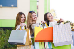 Young women after shopping Stock Photos
