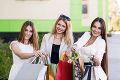 Young women after shopping Royalty Free Stock Photo