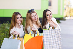 Young women after shopping Royalty Free Stock Photography