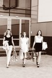 Young women after shopping. Three young women walking on a summer day in the city Royalty Free Stock Photos