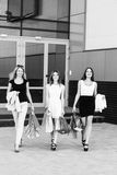 Young women after shopping. Three young women walking on a summer day in the city Stock Photos