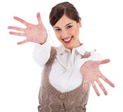 Young women showing her hands wide open Stock Image