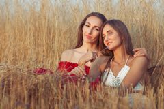 Young women are sitting in tall grass. Royalty Free Stock Photography