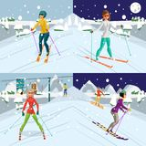 Young women is skiing at a resort. A girl rests in the mountains. In winter. Flat cartoon vector illustration Royalty Free Stock Photo