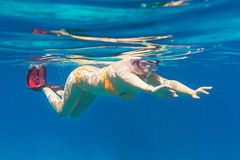Young women snorkeling in the Andaman sea stock photo