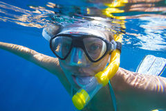 Young women is snorkeling Royalty Free Stock Photo