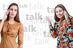 Young women speaking on phone Royalty Free Stock Images