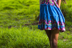 Young women spinning in dress. Beautiful young woman in summer dress Stock Photo