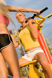 Young women on sport playground Royalty Free Stock Photos