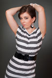 Young women in striped dress Royalty Free Stock Photo
