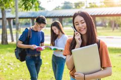Young woman girl, student at college Stock Images