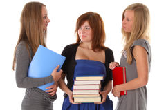 Young women students talking Stock Photo