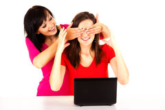 Young women studying with the laptop Royalty Free Stock Photography