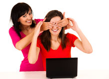 Young women studying with the laptop Royalty Free Stock Images
