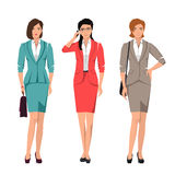 Young women in suits for office. Active young women in suits for office. Vector set Royalty Free Stock Image