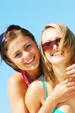 Young women on the summer beach Stock Photo