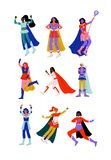 Young Women in Superhero Costumes and Capes Set, Beautiful Super Girls Characters in Different Poses Vector Illustration. On White Background stock illustration