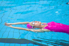 Young women is swimming stock photo
