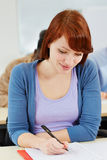 Woman taking test in assessment Royalty Free Stock Images