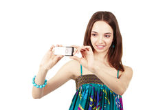 Young women is taking pictures Stock Photography