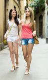 Young women taking a walk in city Royalty Free Stock Photography