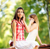 Young women talking on cell phone. Stock Photos
