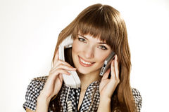 Young women talking on cellular phone Royalty Free Stock Image