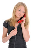 Young women, talking on phone Stock Images