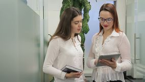 Young women are talking, standing in large company indoors. Two employees speak actively, looking at screen of silvery tablet with friendly smiles, brunette stock video