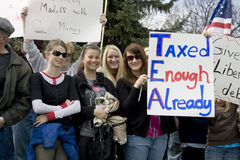 Young women at a tea party rally. Stock Photography