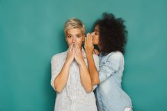 Young woman telling her friend some secrets Royalty Free Stock Images