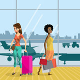 Young women with things in the airport terminal awaiting the fli. Ght. Girls travel with luggage ready for the departure of the aircraft. Flat vector cartoon Royalty Free Stock Image