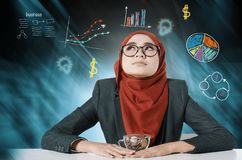 Young women thinking over abstract background with symbols. Business analysis concept, young woman thinking over abstract background with symbols Royalty Free Stock Image