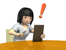 Young women to search for hot news on a tablet terminal Royalty Free Stock Photo