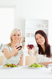 Young Women toasting with wine Stock Images