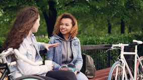 Young women tourists are having conversation sitting on bench in park and holding takeaway coffee with bikes standing. Young women tourists are having stock video footage