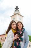 Young women travelers having selfies Stock Photography