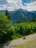 Young women trekking in Svaneti, Royalty Free Stock Photography