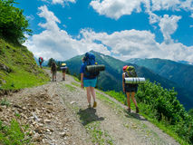 Young women trekking in Svaneti, Royalty Free Stock Image