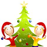 Young Women Trimming Christmas Tree. A clip art illustration featuring 2 smiiling happy young women decorating a Christmas tree in their santa hats Royalty Free Stock Photo