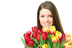 Young women with tulips Stock Photo