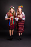 Young women in ukrainian clothes Royalty Free Stock Images