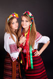 Young women in ukrainian clothes Stock Photos