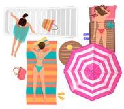 Young women with umbrella lying on the beach near sea. Top view cartoon vector illustration. Stock Photos